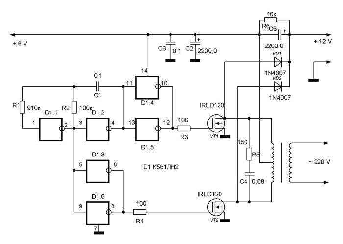 Преобразователь служит для получения от мотоциклетного аккумулятора напряжением 6V напряжений - постоянного тока 12V.