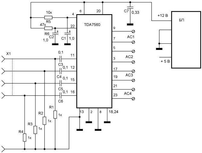 Микросхема TDA7560 включена по типовой...