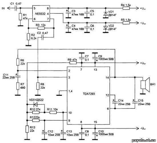 схема включения TDA7293