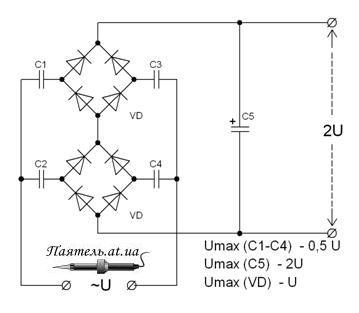 Лекция схем умножения напряжения Нагрузочная способность умножителя пропорциональна частоте, величине емкости входящих в его сос